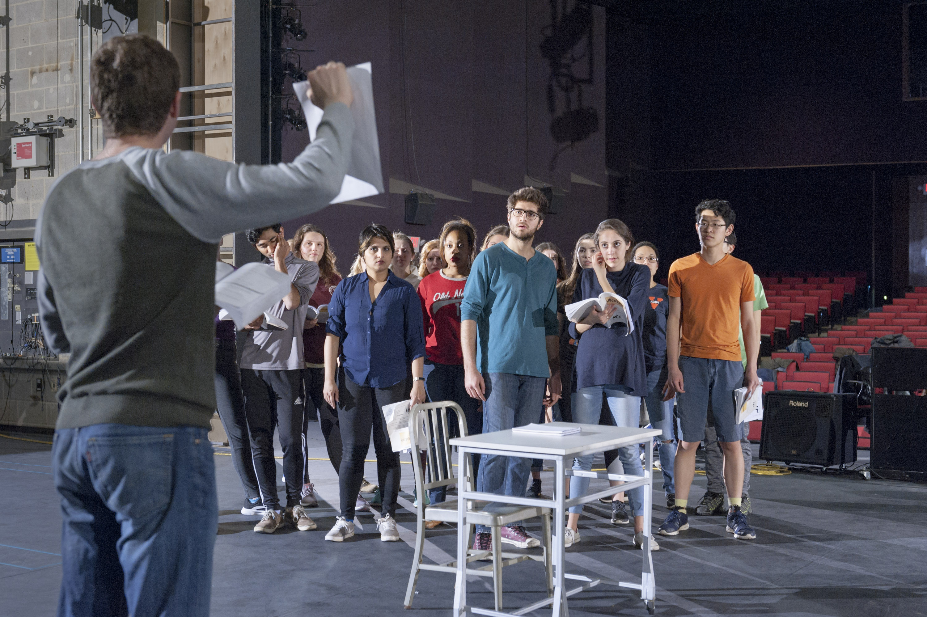 Cast members rehearsing a scene of UVA Department of Drama's production of URINETOWN.